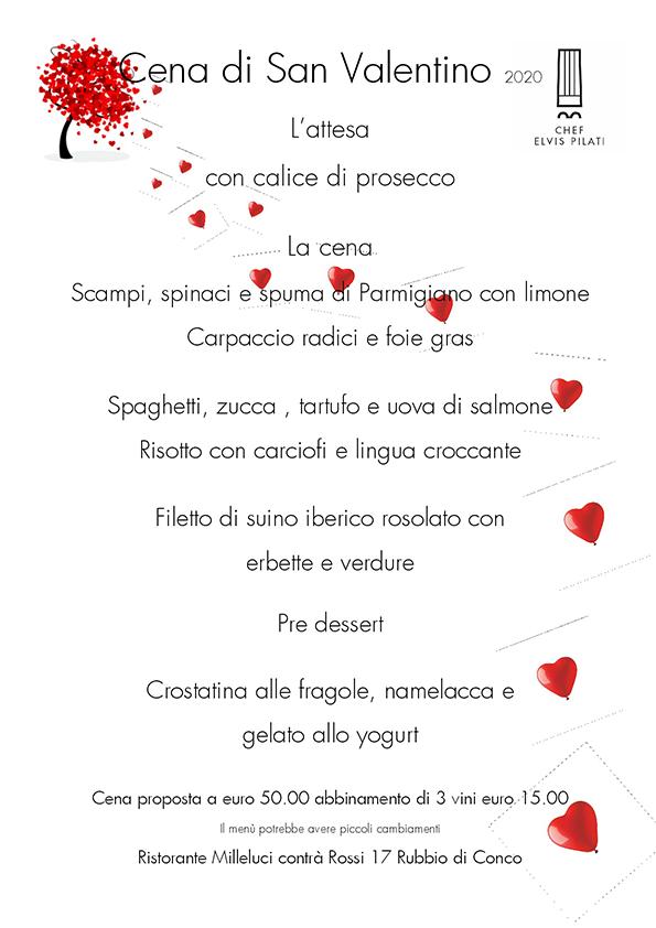 menù San Valentino Ristorante Milleluci