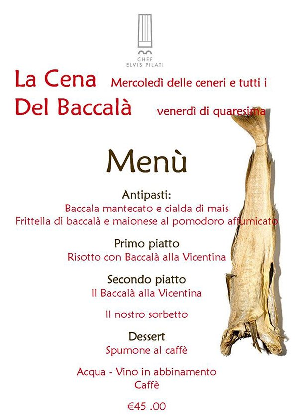 Menù Baccalà Ristorante Milleluci